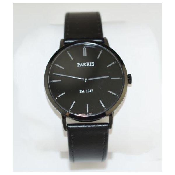 Gents watch, black dial with black leather strap, 40 mm case