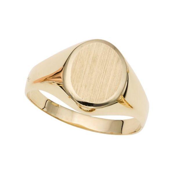 14K Gold Oval Satin Signet Ring