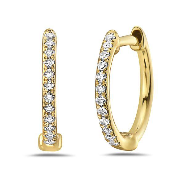14 kt Yellow Gold Petite Diamond Hoop Earrings