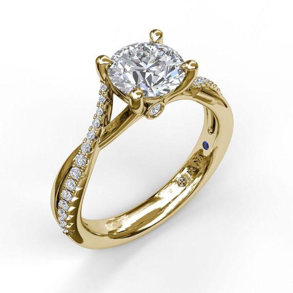 Yellow Gold Alternating Diamond Twist Engagement Ring
