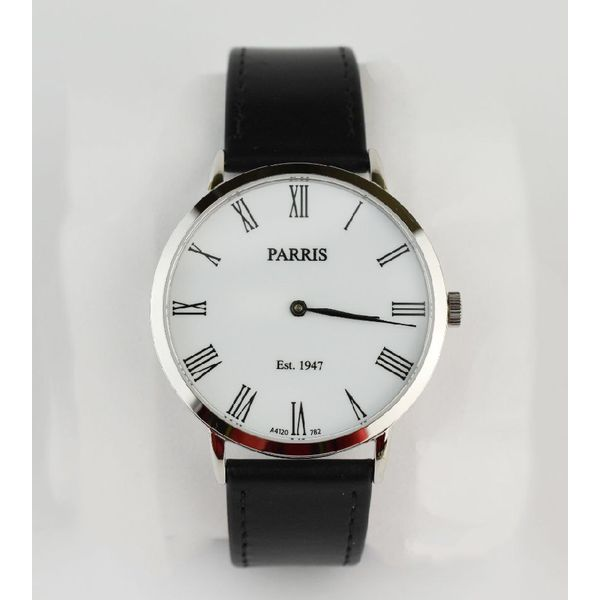 Gent's watch w stainless steel case, white face black leather strap