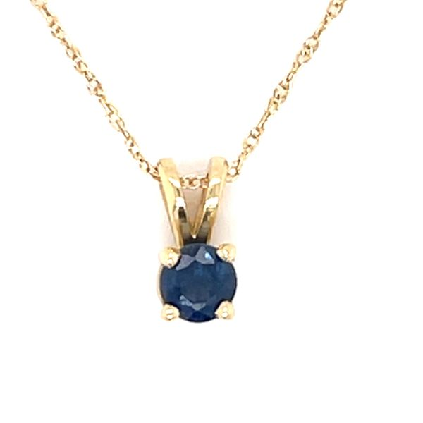 14 kt Yellow Gold Sapphire Solitaire Necklace