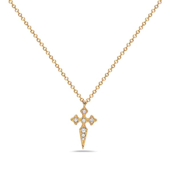 14 kt Yellow Gold Diamond Cross