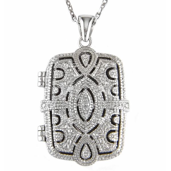 Sterling Silver and diamond engravable rectangular locket with chain.