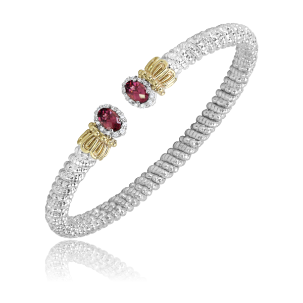 Sterling Silver and 14 kt yellow gold 4 mm bracelet with rhodolite garnets by Vahan
