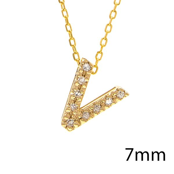 14 kt Yellow Gold V Initial Necklace