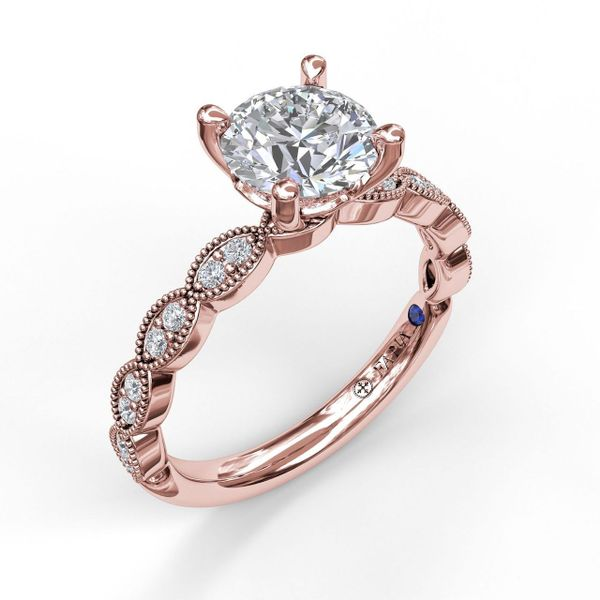 Rose Gold  Classic Diamond Engagement Ring with Detailed Milgrain Band