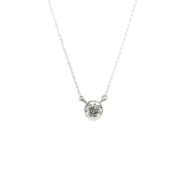 14 kt White Gold Bezel Set Diamond Pendant