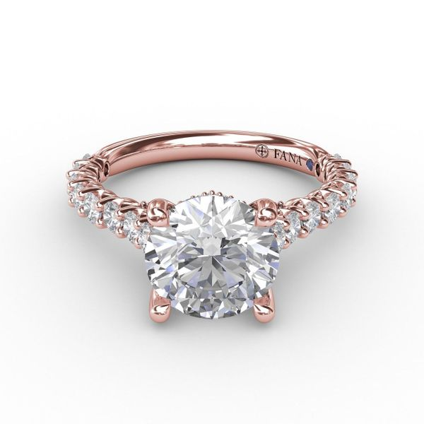 Rose Gold Hidden Halo Engagement Ring with Matching Band Available