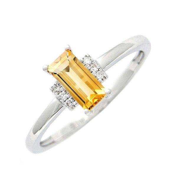 14 kt White Gold Citrine and Diamond Ring