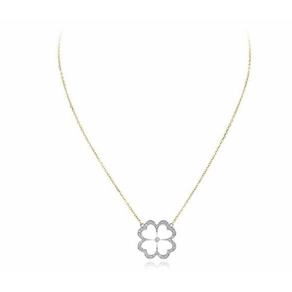 18K Two-Tone Floral Pendant Parris Jewelers Hattiesburg, MS