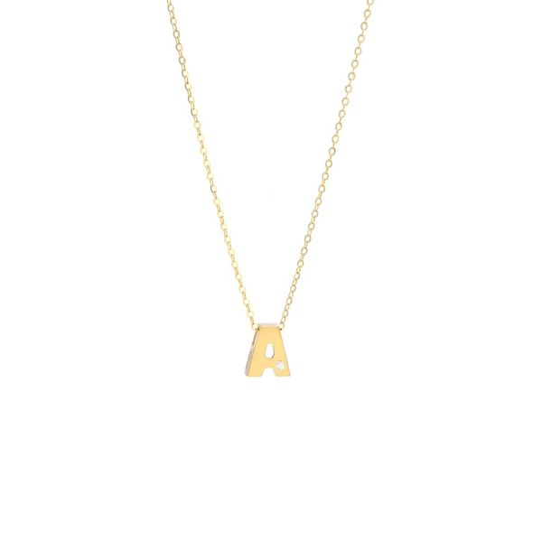 14 kt Yellow Gold A Initial Pendant with Diamond Accent