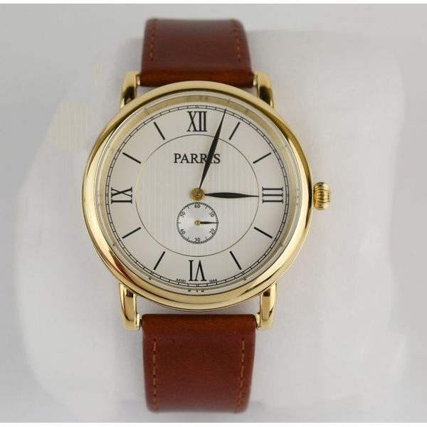 Unisex yellow tone watch with brown leather strap