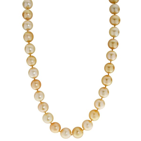 Golden South Sea Pearl Strand with 14 kt Yellow Gold Clasp
