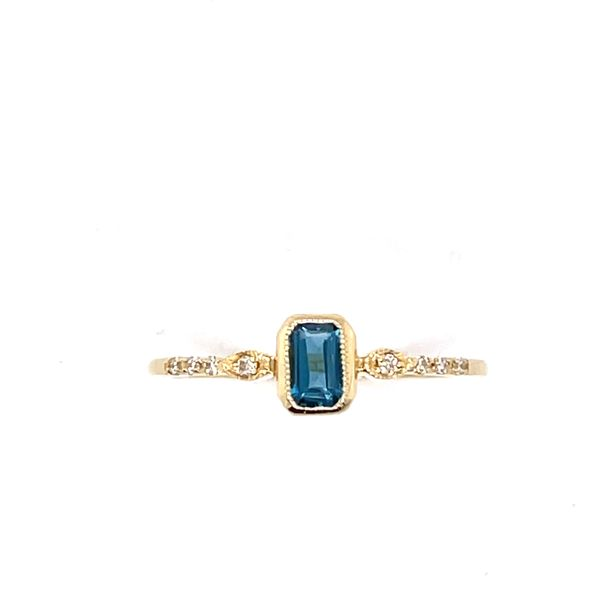 14 kt Yellow Gold London Blue Topaz and Diamond Ring