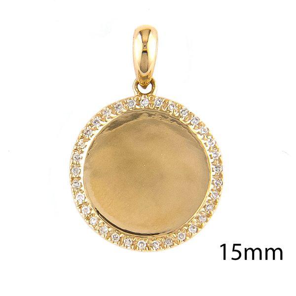 Yellow Gold Disk Single Micro Pave Diamond Pendant