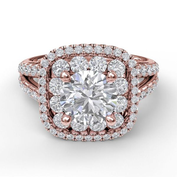 14 kt Rose Gold Double Halo Engagement Ring