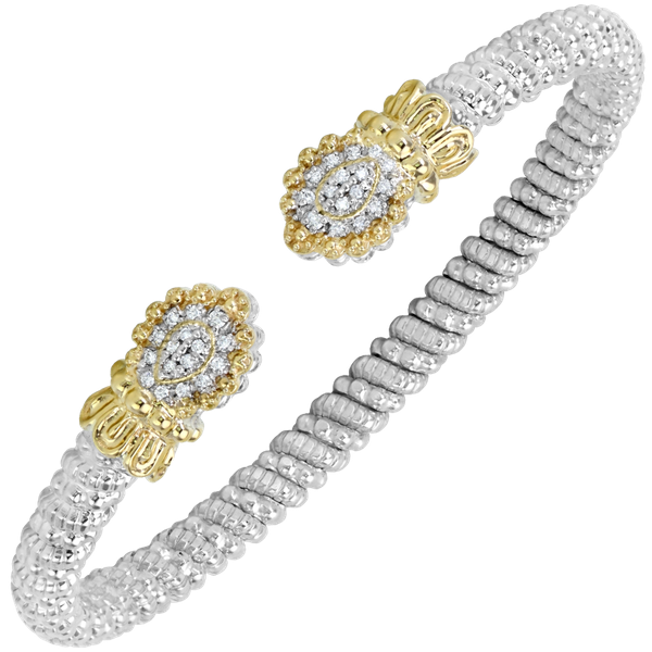 Sterling silver and 14 kt yellow gold bracelet with diamonds by Vahan