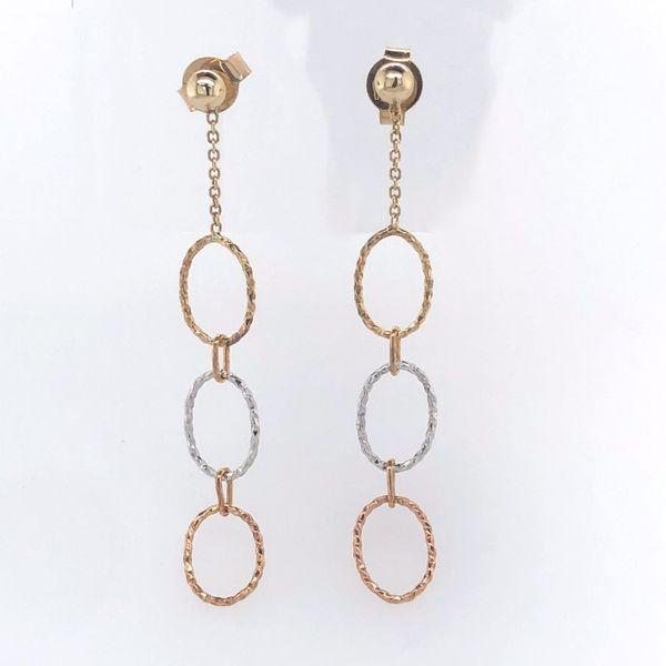 14 kt Tri-color Oval Link Earrings