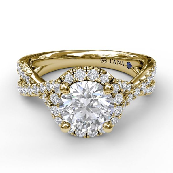 14 kt Yellow Gold Round Halo Twist Band Engagement Ring