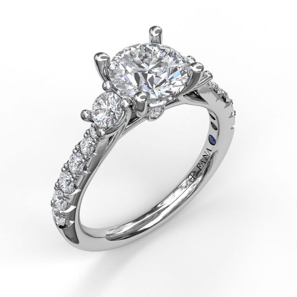White Gold Three Stone With Pave Engagement Ring