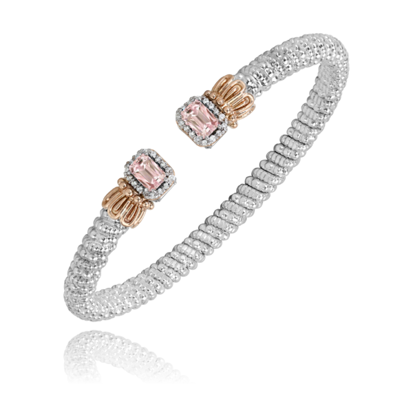 Sterling silver and 14 kt rose gold bracelet with gemstones by Vahan