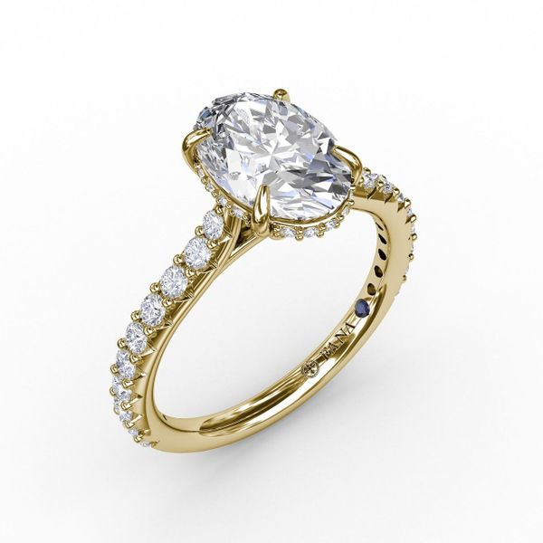 Yellow Gold Classic Oval Diamond Engagement Ring With Hidden Pavé Halo