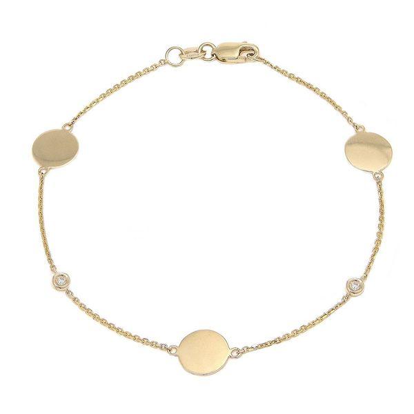 14K White Gold Disc Bracelet
