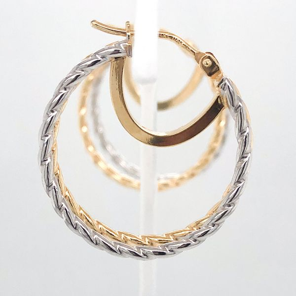 14 kt Yellow And White Gold Textured Hoops