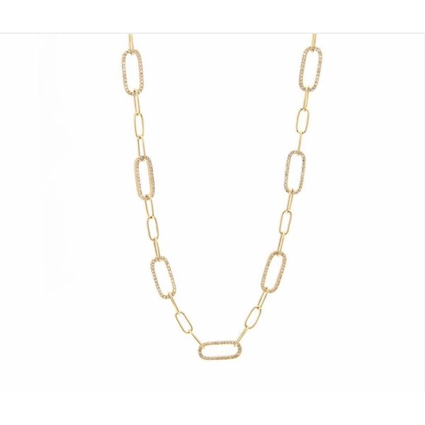 14 kt Yellow Gold Diamond Paperclip Necklace
