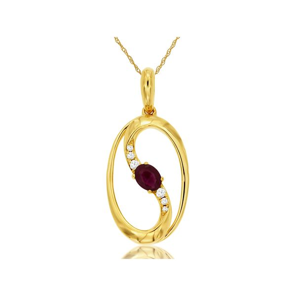 14 kt Yellow Gold Ruby Necklace with Diamond Accents