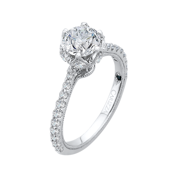 Complete Round Cut 1.37 ctw White Gold Diamond Engagement Ring Image 2 Polly's Fine Jewelry N. Charleston, SC