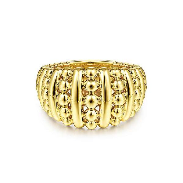 14K Yellow Gold Alternating Bujukan Bead and Polished Bar Wide Band Polly's Fine Jewelry N. Charleston, SC