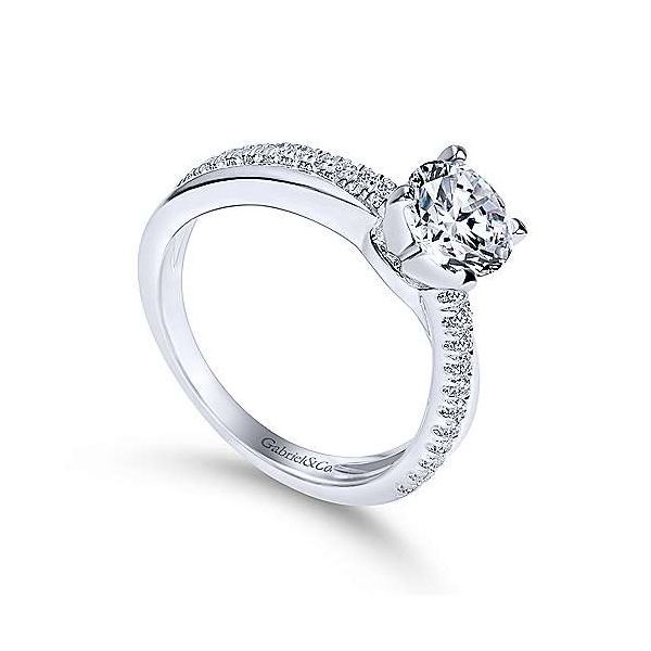 14K White Gold Round Twisted Diamond Engagement Ring Image 2 Polly's Fine Jewelry N. Charleston, SC