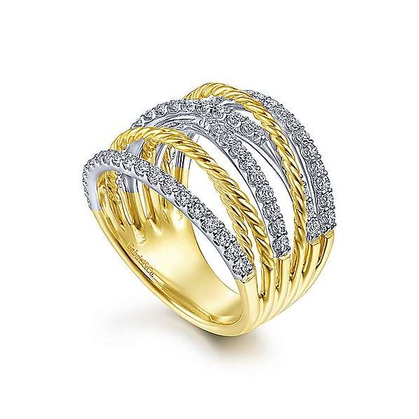 14K White-Yellow Gold Twisted Rope and Diamond Multi Row Ring Image 3 Polly's Fine Jewelry N. Charleston, SC
