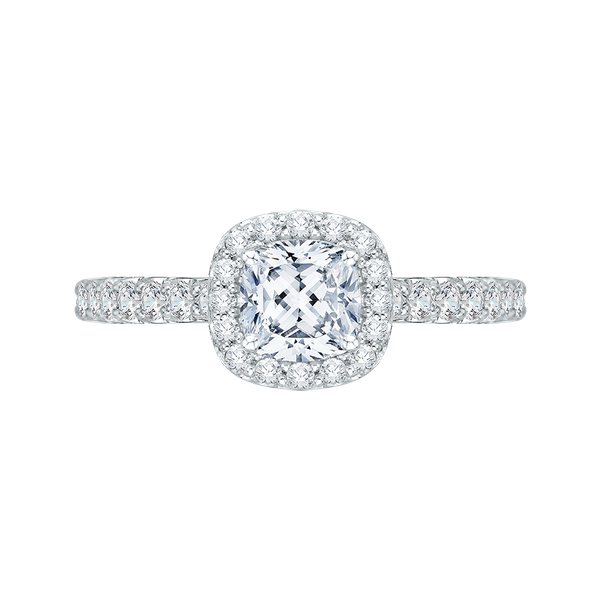 Carizza Complete Cushion Cut 1.19 ctw White Gold Diamond Halo Engagement Ring Polly's Fine Jewelry N. Charleston, SC