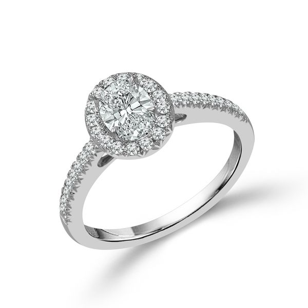 Complete Oval Cut .75 ctw White Gold Diamond Halo Engagement Ring Polly's Fine Jewelry N. Charleston, SC