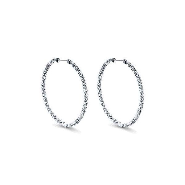 14K White Gold Prong Set 50mm Round Inside Out Diamond Hoop Earrings Polly's Fine Jewelry N. Charleston, SC
