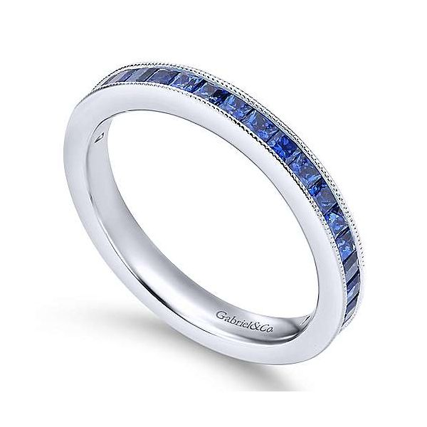 14K White Gold Princess Cut Sapphire Stackable Band Image 3 Polly's Fine Jewelry N. Charleston, SC