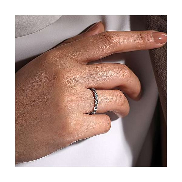 14K White Gold Diamond Marquise Station Ring Image 4 Polly's Fine Jewelry N. Charleston, SC