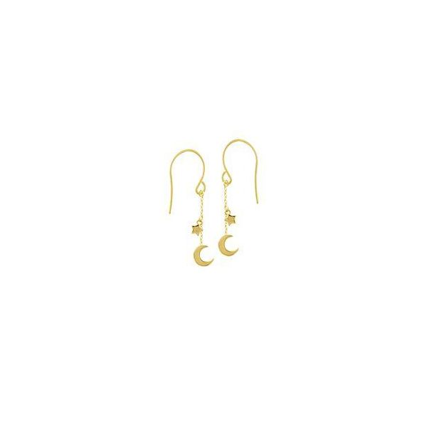 14K Yellow Gold Half Moon and Star Dangle Earrings Polly's Fine Jewelry N. Charleston, SC