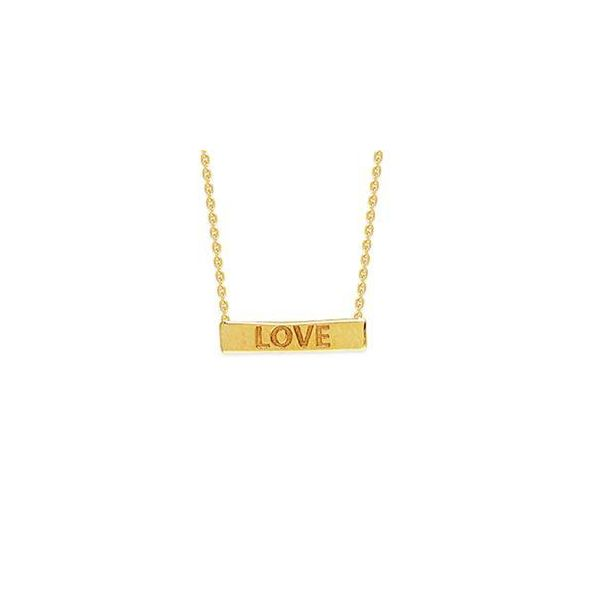 "Yellow Gold ""Love"" Bar Necklace Polly's Fine Jewelry N. Charleston, SC"