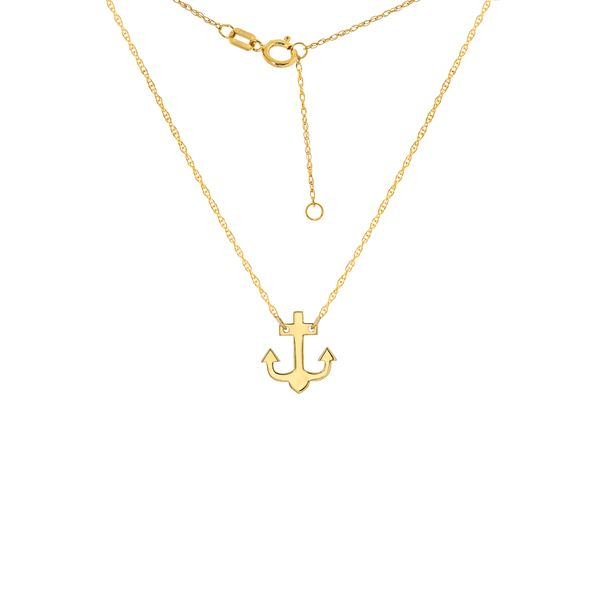 Yellow Gold Mini Anchor Necklace Polly's Fine Jewelry N. Charleston, SC