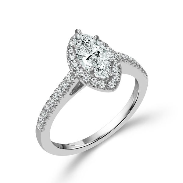 Complete Marquise Cut .75 ctw White Gold Diamond Halo Engagement Ring Polly's Fine Jewelry N. Charleston, SC