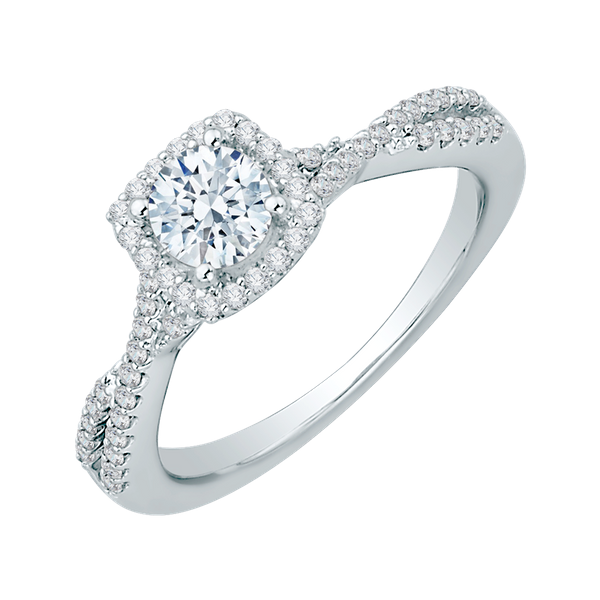Complete Round Cut .81 ctw White Gold Diamond Halo Engagement Ring Image 2 Polly's Fine Jewelry N. Charleston, SC