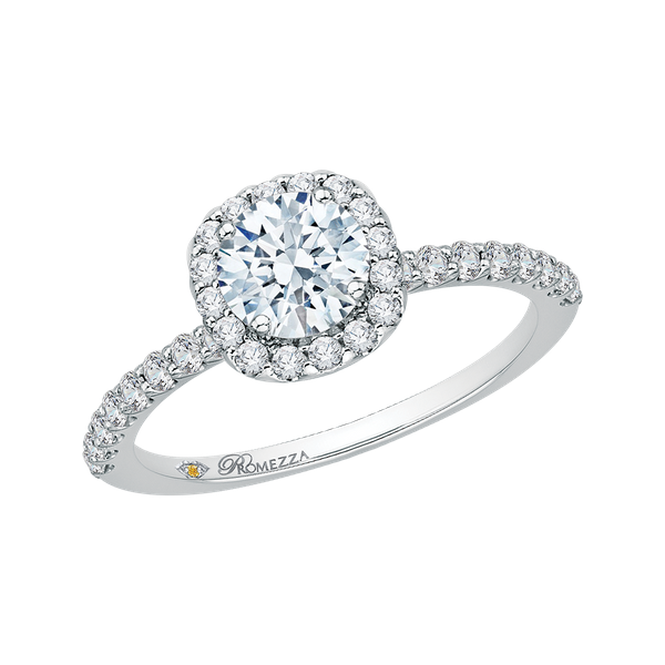 Complete Round Cut .94 ctw White Gold Diamond Halo Engagement Ring Image 2 Polly's Fine Jewelry N. Charleston, SC