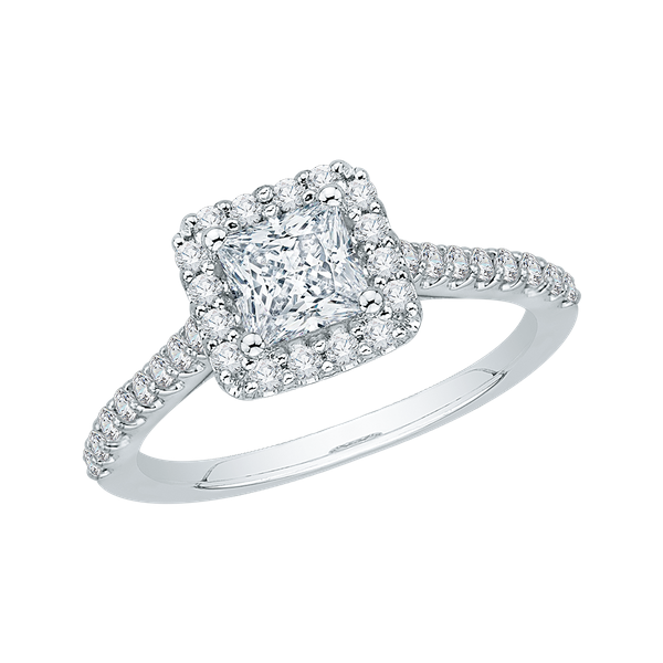 Complete Square Cut 1.25 ctw White Gold Diamond Halo Engagement Ring Image 2 Polly's Fine Jewelry N. Charleston, SC