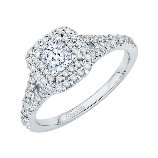 Complete Square Cut 1.07 ctw White Gold Diamond Halo Engagement Ring Image 2 Polly's Fine Jewelry N. Charleston, SC