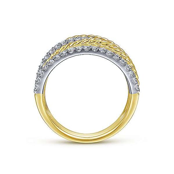 14K White-Yellow Gold Twisted Rope and Diamond Multi Row Ring Image 2 Polly's Fine Jewelry N. Charleston, SC