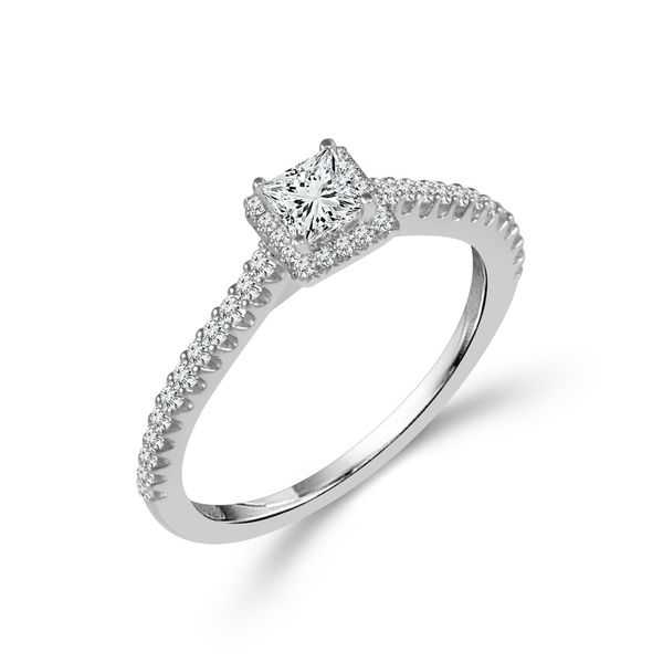 Complete Princess Cut .50ctw White Gold Diamond Halo Engagement Ring Polly's Fine Jewelry N. Charleston, SC